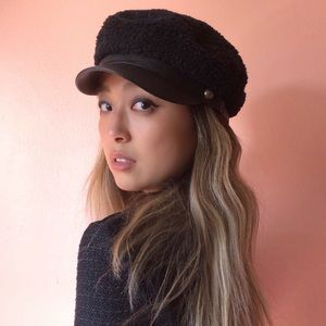 Eugenia Kim Curly Sherpa Leather Cap